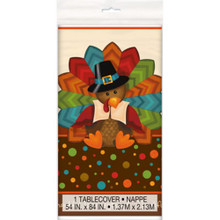 Cute Turkey Thanksgiving Plastic All Over Print Tablecover 54 x 84