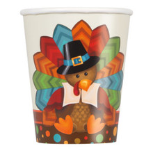 Cute Turkey Thanksgiving Pilgrim 8 Ct 9 oz Paper Cups