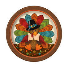"Cute Turkey Thanksgiving Pilgrim 8 Ct 7"" Dessert Cake Plates"