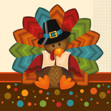 Cute Turkey Thanksgiving Pilgrim 16 Ct Luncheon Napkins