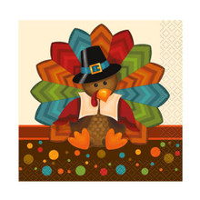Cute Turkey Thanksgiving Pilgrim 16 Ct Beverage Napkins