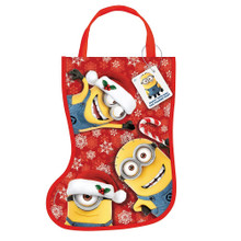 """Despicable Me Minions Christmas Stocking Shaped Tote Bag 13"""" x 9.5"""""""