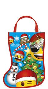 """Emoji Christmas Stocking Shaped Tote Bag 13"""" x 9.5"""""""