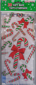 Christmas Candy Cane 20 ct Cello Gift Bags with Twist Ties