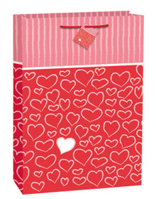 Valentines Day Lively Hearts Stripes Jumbo Glossy Gift Bag