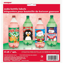 Christmas Holiday Beverage Soda 2 Liter Bottle Labels 4 Ct Party