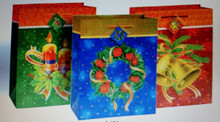 3 Pk Traditional Christmas Large Glossy Gift Bags