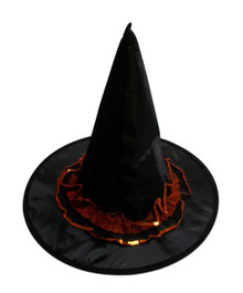 Black Orange Sequin Trim Halloween Witch Hat  18 in