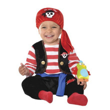 Baby Buccaneer Pirate Costume Infant Boys 12 - 24 With Parrot
