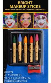 Make-up Sticks 5 Bright Colors Sharpener Pink Yellow Blue Green Orange