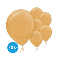 "Pearlized Gold Bulk Latex Balloons 12"" 100 Ct"