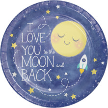 "I love You Moon and Back 8 9"" Lunch Paper Plates Baby Shower Birthday Party"
