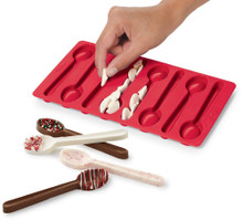 Wilton Red Christmas Silicone Spoon Mold 8 Cavity Candy Treat