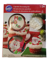 Santa Chimney Combo Cupcake Kit 24 Baking Cups Picks, Sprinkles Wilton