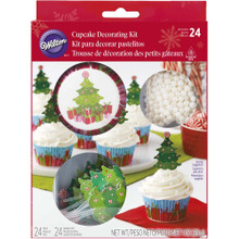 Christmas Tree Combo Cupcake Kit 24 Baking Cups Picks, Sprinkles Wilton