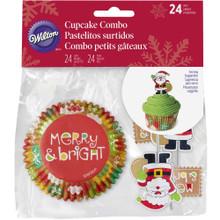 Merry and Bright Santa 24 Ct Combo Cupcake Kit Wilton