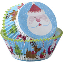 Cheerful Santa 75 Baking Cups Cupcake Liners Wilton Candy Cane