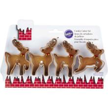 Wilton Reindeer Christmas Metal Cookie Cutter Set 4 pc