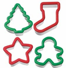 Wilton 4 Pc Holiday Grippy Bagged Cookie Cutter Set Christmas Set