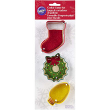 Wilton Christmas Mantel Bulb Wreath Stocking Metal Cookie Cutter Set 3 pc