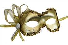 """Mindy"" Gold Crystal Masquerade Mardi Gras Prom Ball Mask"