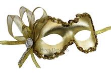 """Mindy"" Gold Crystal Masquerade Mardi Gras Prom Ball Mask"
