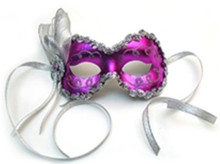"""Angelina"" Purple Silver Lame Ribbon Crystal Masquerade Prom Ball Mask"