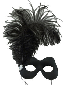 Subito Black Feather Plume and Crystal Masquerade Prom Ball Mask