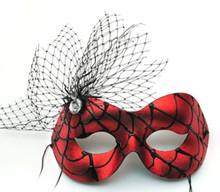 Entangled Masquerade Red Spider Web Mardi Gras Halloween Ball Mask