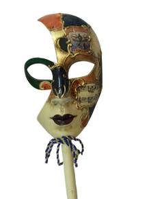 Bourbon Street New Orleans French Quarter Venetian Stick Mask Green Orange