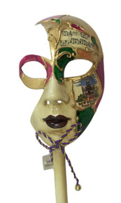 New Orleans French Quarter Venetian Stick Mask Ladies