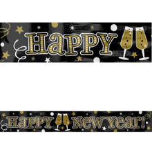 Black Silver Gold Happy New Year Foil Party Banner 9 ft Wall Decoration
