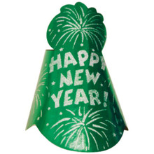 "1 Printed Foil Green 9"" Cone Hat Metallic New Year's Eve Party"
