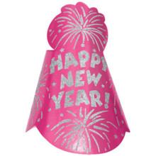 "1 Bright Pink Printed Foil 9"" Cone Hat Metallic New Year's Eve Party"