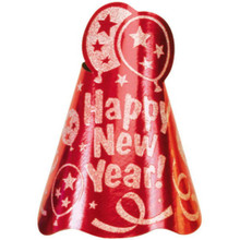 "1 Red Printed Foil 9"" Cone Hat Metallic New Year's Eve Party"