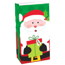 12 Santa with Gift Treat Bags Paper Lunch Bag Sack