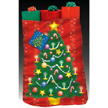 Christmas Tree Giant Christmas Gift Bag  Tag and Tie 36 x 44 Plastic Sack