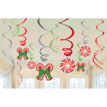 Candy Cane 12 Ct Hanging Swirls Decorations Value Pack