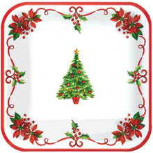 "Traditional Christmas Tree 40 Ct Square Plates 9"" Luncheon"