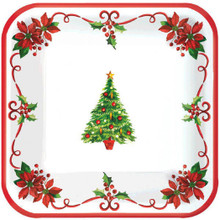 "Traditional Christmas Tree 40 Ct Square Plates 7"" Dessert Cake"