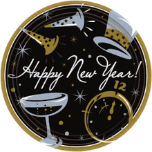 "Black Tie Affair Super Value 50 Ct Paper 7"" Dessert Plates New Years Eve"