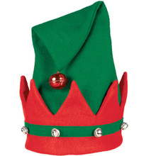 "Felt Elf Hat 15"" x 11"" with Jingle Bells"