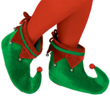 Adult Plush Elf Shoes One Size with Jingle Bells