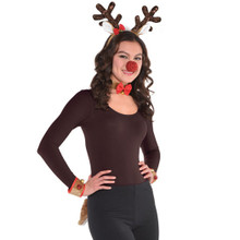 Reindeer Costume Kit Rudolph Nose Cuffs Tail Headband Collar