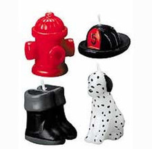 Wilton 4 Pc Firefighting Candle Set Cake Topper Birthday Party