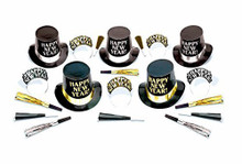 Midnight Elegance Party New Years Eve 20 Pc Black Silver Gold Kit For 10 Hats Tiaras Horns