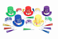 Midnight Elegance Party New Years Eve 20 Pc Asst Colors Kit For 10 Hats Tiaras Horns