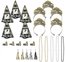 New Years Night Party New Years Eve 25 Pc Black Silver Gold Kit For 10 Hats Tiaras Beads