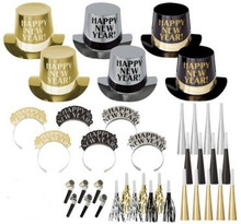 Get The Party Started New Years Eve 50 Pc Kit For 25 Hats Tiaras Noisemakers