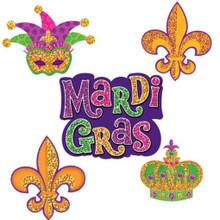 Mardi Gras 10 Mini Cutouts 7, 6, 4 inch Cutouts Paper Party Decorations